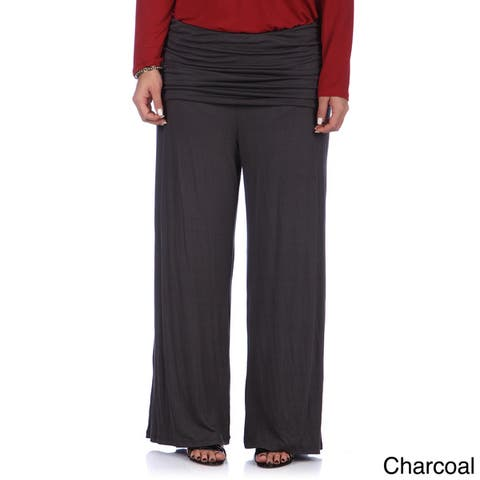 24/7 Comfort Apparel Women's Plus Size Wide-leg Palazzo Pants