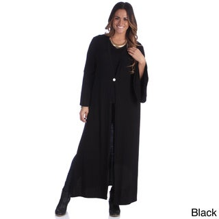 24/7 Comfort Apparel Women's Plus Size 1-button Maxi Jacket
