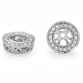 Elora 14k White Gold 1/5ct TDW Round Halo Diamond Jacket Earrings (I-J, I2-I3)