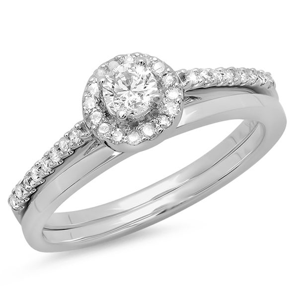 Elora 14k White Gold 1/2ct TDW Round Prong-set Diamond Bridal Set