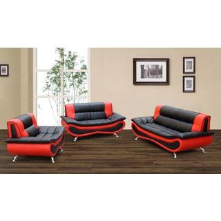 Christina Red/ Black 2-tone Bonded Leather Modern Sofa Set