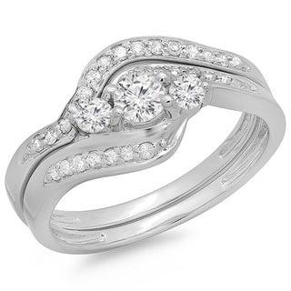 14k White Gold 3/5ct TDW Round Diamond Three Stone Matching Bridal Set