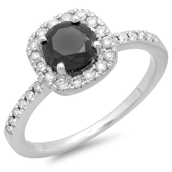 Elora 14k White Gold 1 1/6ct TDW Black and White Halo Diamond Ring