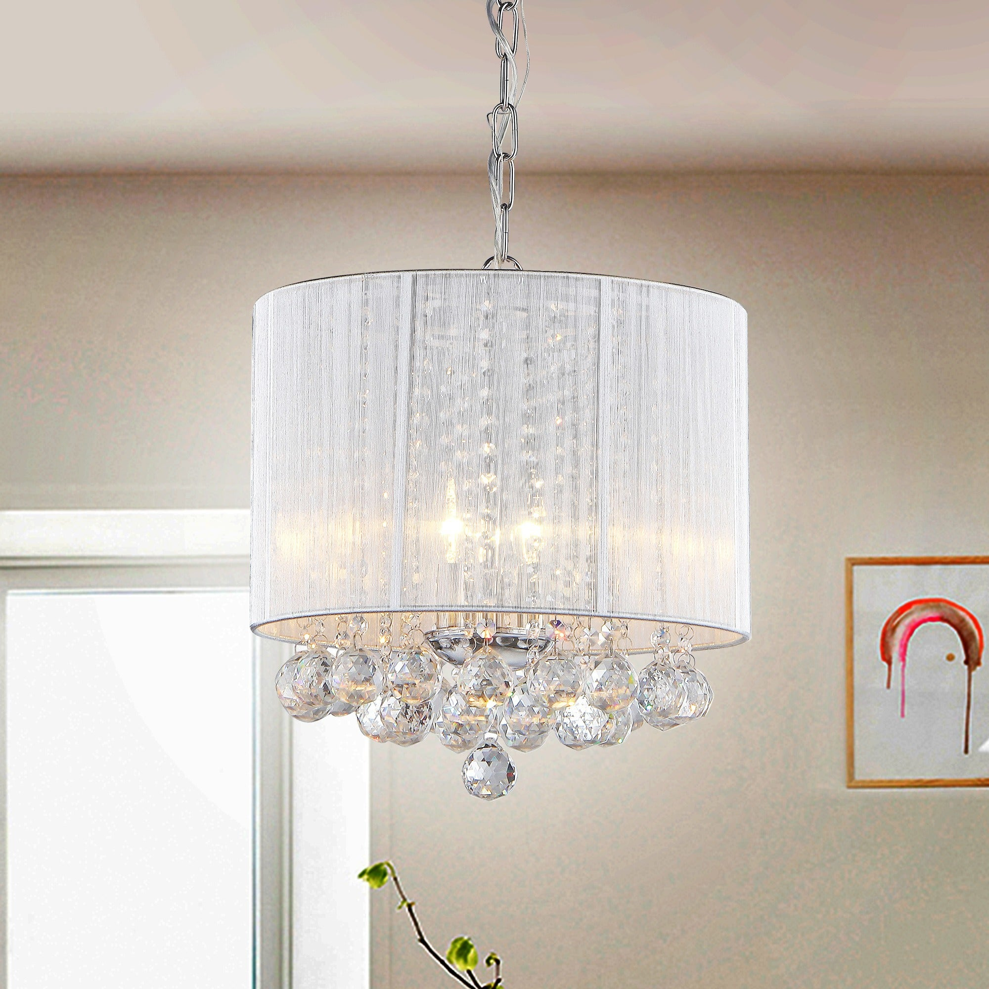 Warehouse of Tiffany Platter Crystal Chandelier, Silver