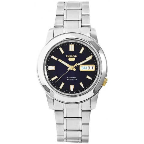 Seiko Men's 5 Automatic Silver Stainless-Steel Automatic Watch with Blue Dial
