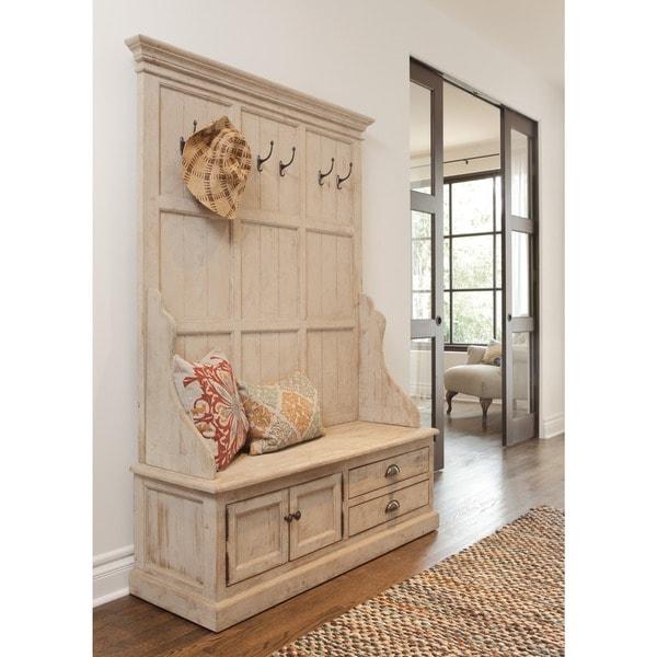 Kosas Home Wilson Antique White Reclaimed Pine Entryway Storage Bench
