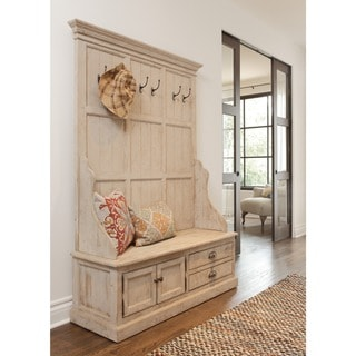 Kosas Home Wilson Antique White Reclaimed Pine Entryway Storage Bench