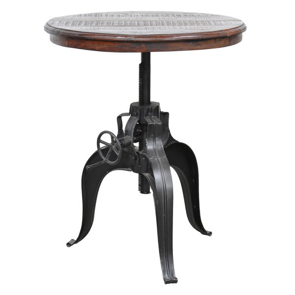 Niketa Adjustable 30-inch Reclaimed Wood Crank Table By