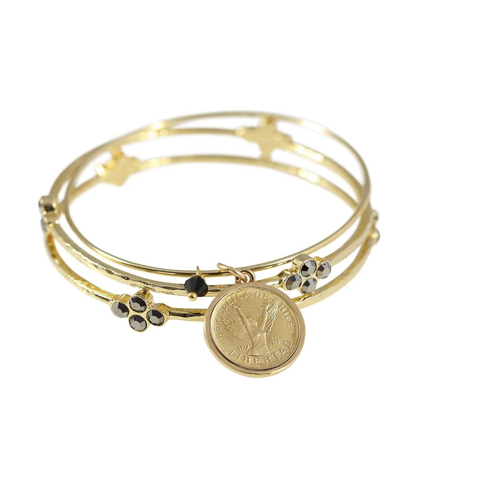 Angel Coin Bangle Bracelet Set (Coin Bangle Bracelets)
