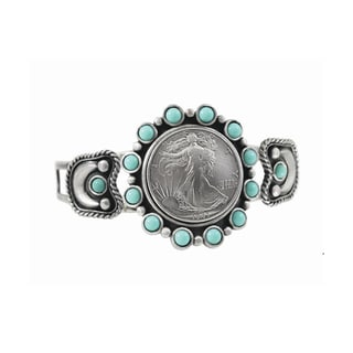 Silver Walking Liberty Half Dollar Cuff Bracelet