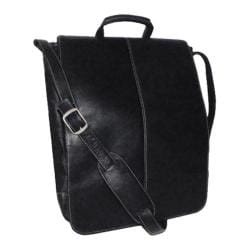 Royce Leather Vaquetta 17in Vertical Laptop Messenger Bag Black