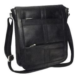 Royce Leather Vaquetta Vertical 16in Laptop Messenger Bag Black