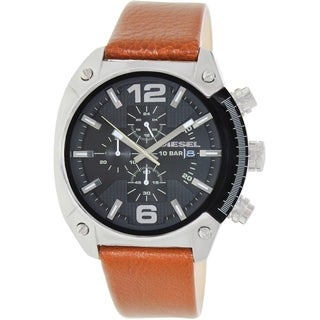Diesel Men's Overflow DZ4296 Brown Leather Quartz Watch with Black Dial