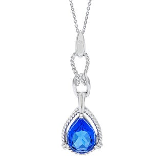 Kabella Sterling Silver Created Blue Quartz and White Cubic Zirconia Pendant