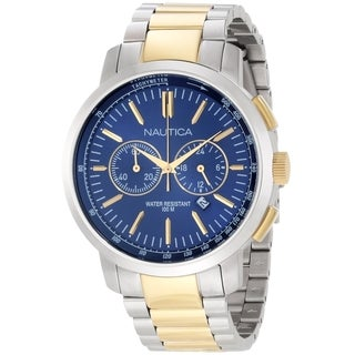 Nautica Men's Metal N23602G Two-Tone Stainless-Steel Quartz Watch with Blue Dial