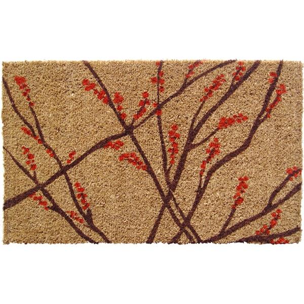 Hand Woven Winter Berries Coir Doormat