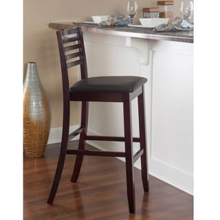 Linon Piedmont Espresso Ladder Back Bar Stool