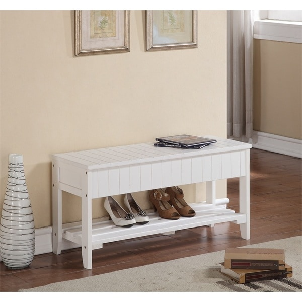 White Solid Wood Storage Bench Shoe Shelf Free Shipping Today 15881128