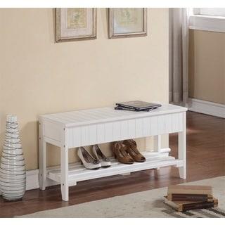 Shop White Solid Wood Storage Bench Shoe Shelf Free
