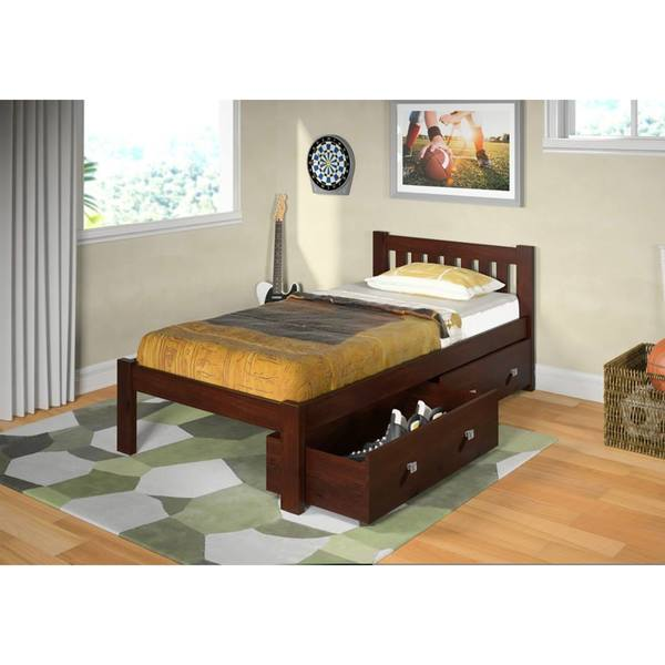 Donco Kids Mission Twin Bed in Dark Cappuccino with Storage Drawers
