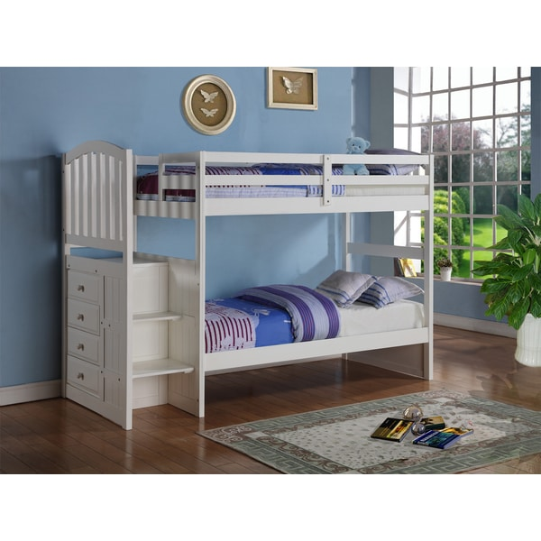 High Quality Donco Kids Donco Kids Arch Mission White Stairway Bunk Bed