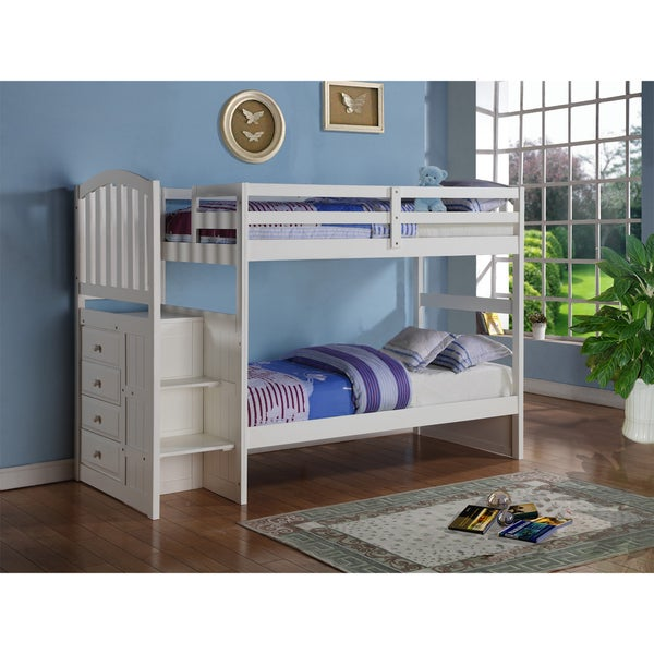 Donco Kids Donco Kids Arch Mission White Stairway Bunk Bed