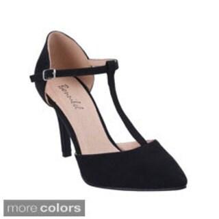 Bonnibel Women's 'Karla-2' Almond Toe T-strap D'orsay Pumps