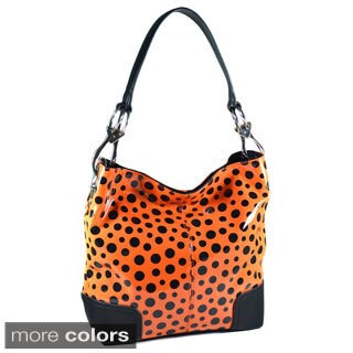 Dasein Glossy Polka Dot Hobo Bag (Option: Orange)