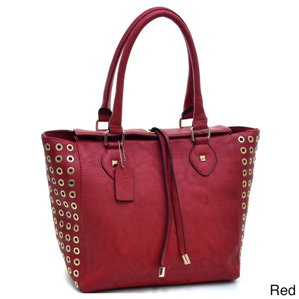 Dasein Goldtone Punchout Accent Tote Bag