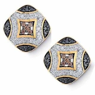Elora 14k Yellow Gold 3/4ct TDW Multi-color Diamond Stud Earrings
