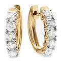 14k Yellow Gold 1ct TDW Round White Diamond Hoop Earrings (H-I, I1-I2)