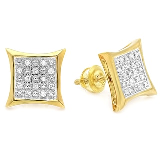 Yellow Plated Sterling Silver Men's 1/10ct TDW White Diamond Kite Stud Earrings (I-J, I2-I3)
