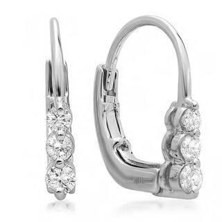 Elora 10K White Gold 1/4ct TDW Round Diamond 3 Stone Hoop Earrings (I-J, I2-I3)