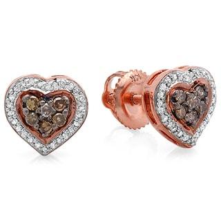 14K Rose Gold 1/3ct TDW White and Champagne Diamond Heart Shaped Stud Earrings (H-I, I1-I2)