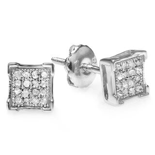 Elora Platinum Plated Silver Diamond Accent Square Men's Hip Hop Iced Stud Earrings