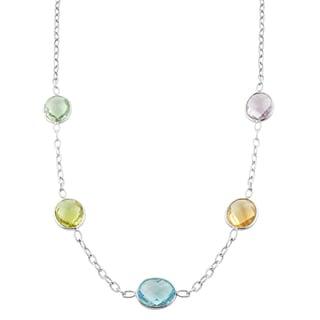 Fremada Sterling Silver Oval Multiple Gemstones Station Necklace (18 inch)