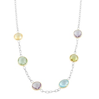 Fremada Sterling Silver and 14k Gold Round and Oval Multiple Gemstones Station Necklace (18 inch)