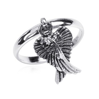 Mythical Heart Shape Angel Wing .925 Silver Dangle Ring (Thailand)