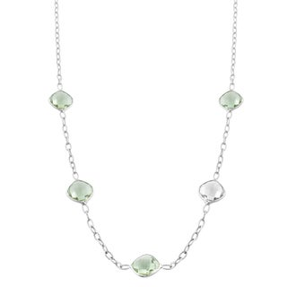 Fremada Sterling Silver Square Green Amethyst Station Necklace (18 inch)