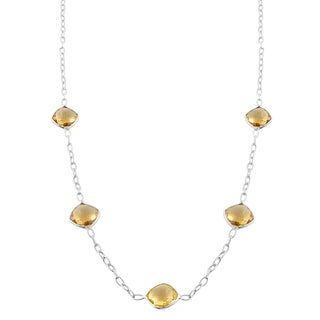 Fremada Sterling Silver Square Citrine Station Necklace (18 inch)
