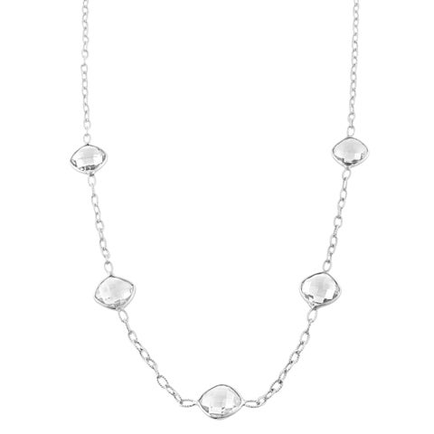 Fremada Sterling Silver Square Clear Quartz Station Necklace (18 inch)