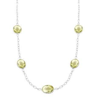 Fremada Sterling Silver Oval Lemon Quartz Station Necklace (18 inch)