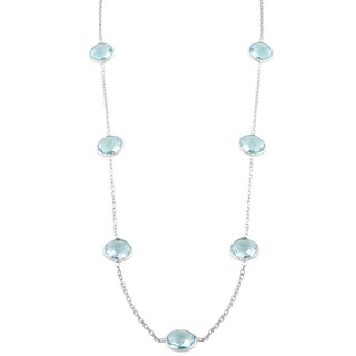 Fremada Sterling Silver Round Blue Topaz Station Necklace (18 inch)