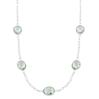 Fremada Sterling Silver Oval Green Amethyst Station Necklace (18 inch)