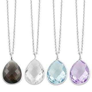 Fremada Sterling Silver Pear-shaped Gemstone Pendant