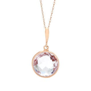 14k Rose Gold Amethyst Briolette Pendant Necklace
