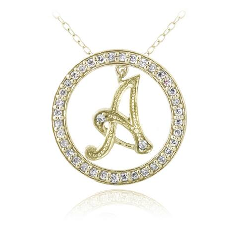 ICZ Stonez Gold Over Silver Cubic Zirconia Initial Necklace