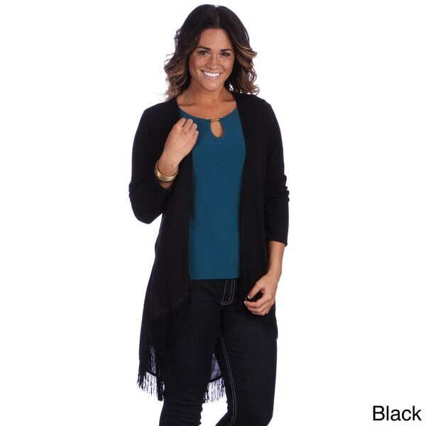 Hadari Women's Plus Fringe Cardigan