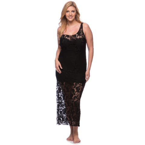 'Romance Selections' Long Stretch Lace Gown with Side Slit