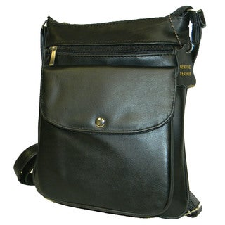 Hollywood Tag Black Leather Anti-Theft Zippered Side Bag